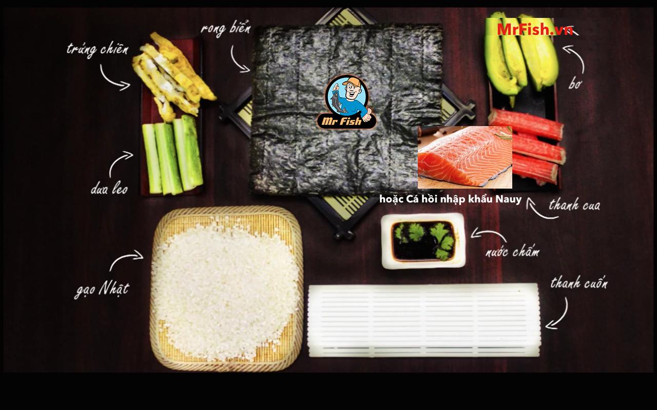 Hướng dẫn làm Sushi cá hồi dễ nhất quả đất